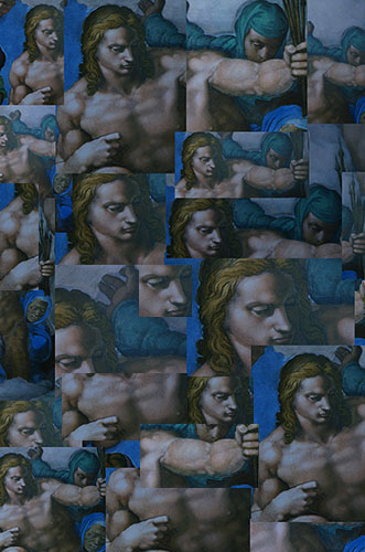 "Detail (St. Sebastian) from Michelangelo's ""Last Judgment."""